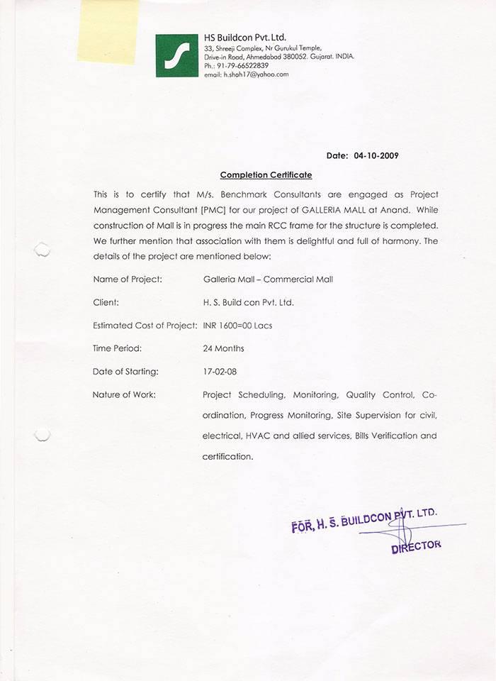 Completation Certificat for HS Buildcon