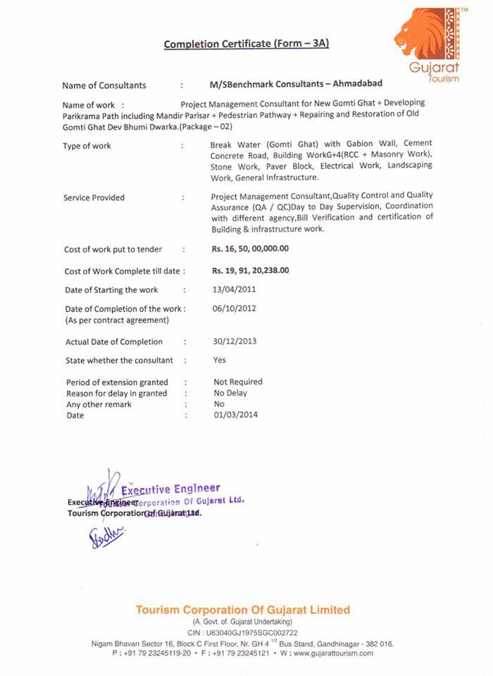 Completion Certificate Dwarka PAC-2