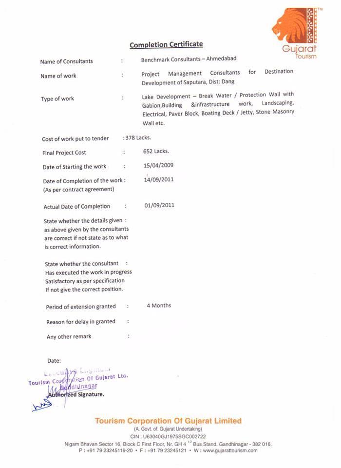 Completion Certificate Saputara Lake