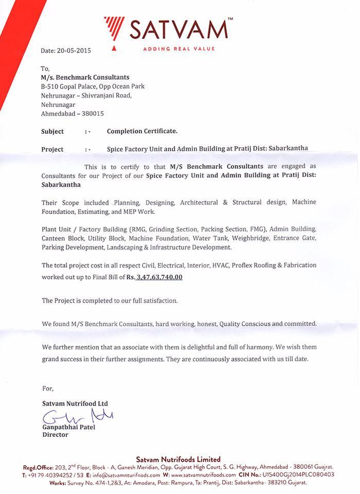 Completion Certificate Satvam Pratij